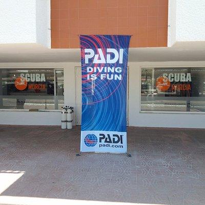 Scuba Murcia Shop Front - PADI Flag, La Manga