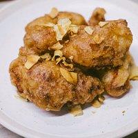 Crispy chicken with spicy peanut sauce -- delicious