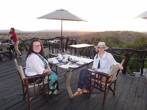 Breakfast watching sunrise over the Serengeti from Mbalageti