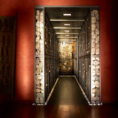 Gabion Wall Hallway at Allyu Spa