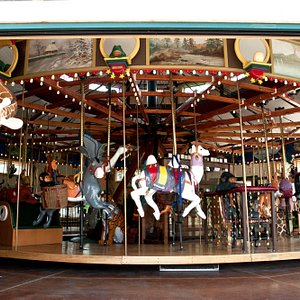 The Carousel has 34 hand-carved animals... ready to ride.