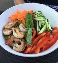 Dragon bowl with grilled shrimp