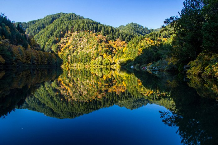 A scene along the Umpqua River along Highway 38 in Scottsburg Oregon