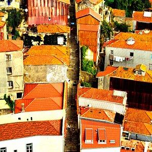Um caminho de escadas entre as casas