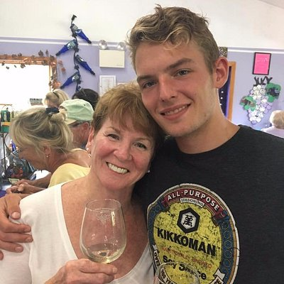 Celebrating my grandson's legal age drinking experience!
