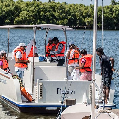 A corporate group embarking for a sea trip