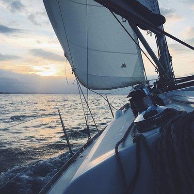 Sunset sailing.