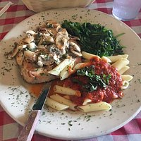 Grillled chicken, pasta, sauce and greens - yum!