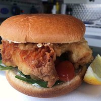 For Cod's Sake! - Cod goujons in a brioche bun with salad & garlic mayonnaise