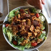 Giant Cobb loaded with chicken and bacon