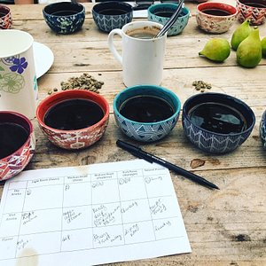 Cupping Kona coffee at Sunshower Farms