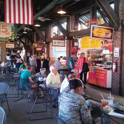 Lots of eateries and tables around to eat at, though only at the far end is it air conditioned.