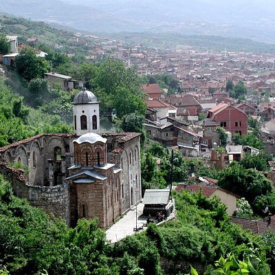 View of the church with Prizren in the background.