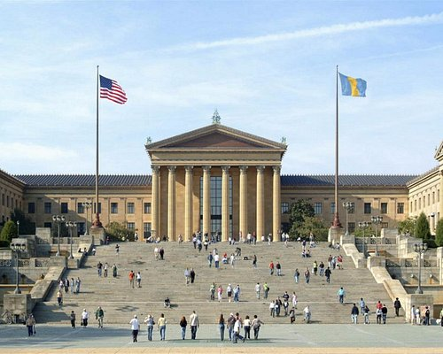 East Terrace entrance to the Philadelphia Museum of Art sitting atop the Rocky Steps.