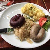Black pudding, liver sausage, mashed potatoes and sauerkraut