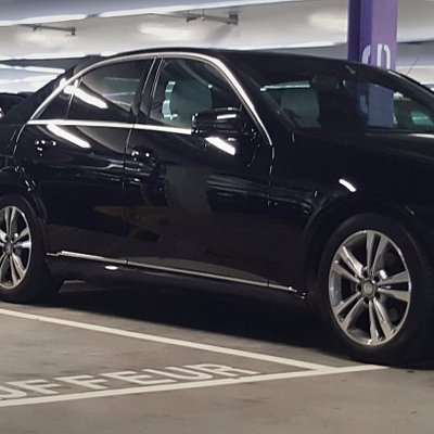 Mercedes E Class parked at the designated chauffeur car park at Terminal 2, Dublin Airport