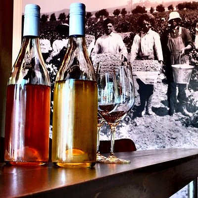 Tasting room with photo of local vineyard from 1914.