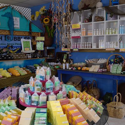 Beach Bubbles boutique located in Boddentown, you will find us on your way out to Rum Point.