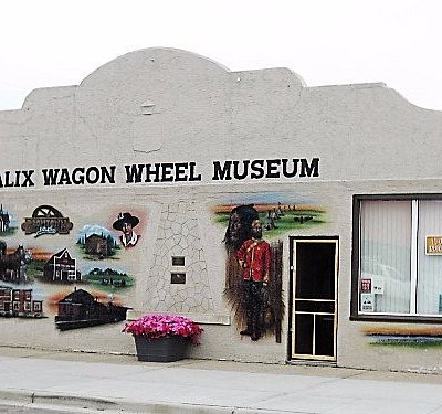 The front of the museum. Stunning mural about parts of the Alix area's history!