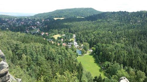 Ausblick vom Nonnenfelsen Richtung Hotel Gondelteich