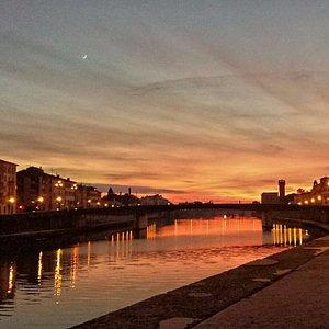 River banks in Pisa  at sunset