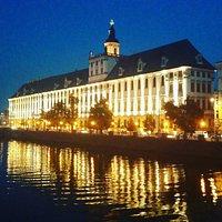 Wroclaw University at night.