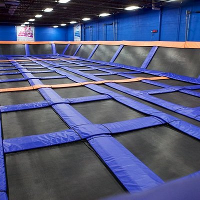 This is just part of a huge indoor trampoline park with dodgeball, a foam pit, and way more!