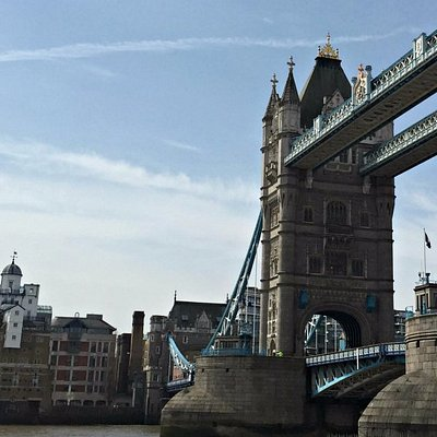 The former Courage brewery seen across the River Thames by Tower Bridge, a sight on this tour.