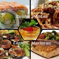 collage: sushi, pastas, filete de cerdo relleno y salmón a la plancha.