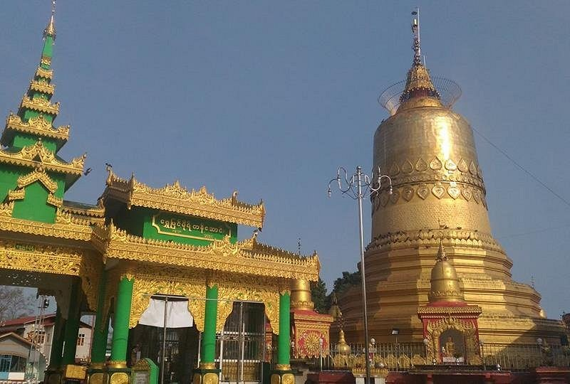 Shwe Thein Taw pagoda at Bhamo city. This pagoda is famous in this city.