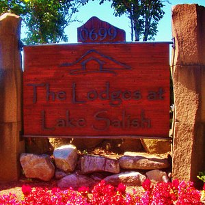 Sign seen from Glisan for The Lodge At Lake Salish apartments