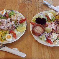 Salad at Jasmins.  Enjoy in the lovely garden area.