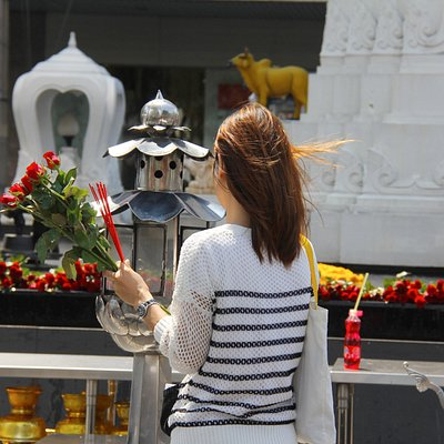 A small shrine outside the Central World mall, Bangkok - THAILAND