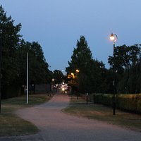very tidy parkland surrounding, well lit at night