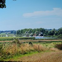 The view of Reedham Ferry from Reedham Village