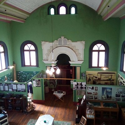 A view down at the various displays from the former women's gallery