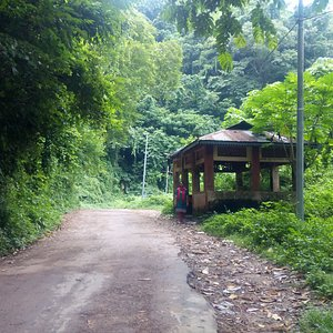Isolated bus stop on our way back from Jampui