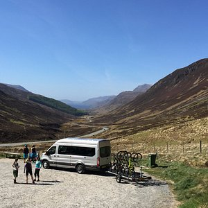 Nice views In Scotland on a cycling tour with Icelandic mountain bikers