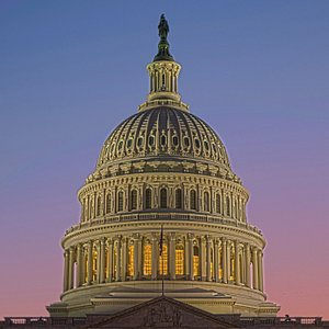 The Capitol Dome at sunset- the dome is nine million pounds of cast iron painted white.