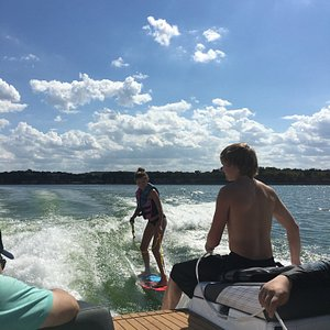 Marc and Conner teaching with some mad skills!  Our kids were up and surfing the first time our.