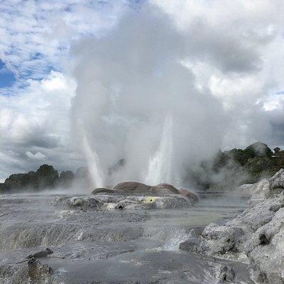 Pohutu Geyser in Rotorua, New Zealand. Spurts every 30-60 minutes.