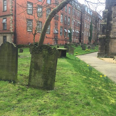 The graveyard of St. Andrew's church overlooked by the Escape Key
