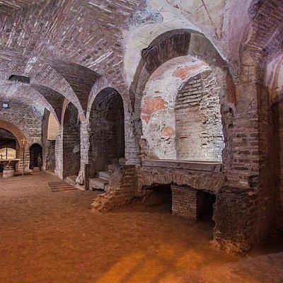 La zona del c.d. Criptoportico nel primo piano delle catacombe