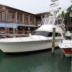 one of the many boats docked at A & B Marina