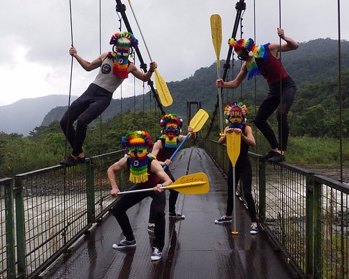 Getting creative just before to Whitewater rafting in the Pastaza river !