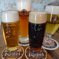 4 types of draft beer (KOZEL - light/dark, PAULANER - light/wheat