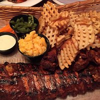 Ribs,wings, wagon wedges, beans, and mac n cheese