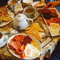 All Day BIG Breakfast, All Day Breakfast & Toasted Teacake with a side of fried eggs!