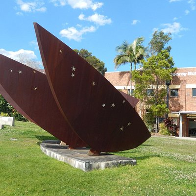 The Bunya sculpture by Glen Manning and Kathy Daly out the front of the Butter Factory Arts Cent