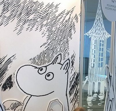 View in front of the Moomin museum in July 2017, temporaly photographing site in the corridor